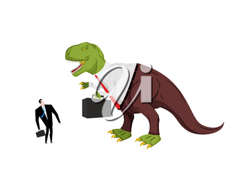 Dinosaur boss screaming at subordinate. Angry Dino Chief with case. Prehistoric dinosaur. Ancient lizard in suit