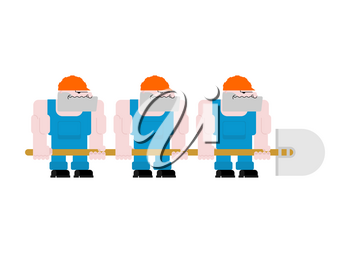 Worker with shovel. Worker in helmet and blue overall. Three workers holding big shovel