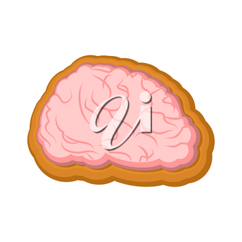 Halloween cookie Brain. Cookies for terrible holiday. Vector illustration