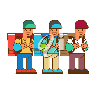 schoolboy set. Boy and big  schoolbag. Illustration for September 1. Back to school.