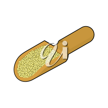Cuscus in wooden scoop isolated. Groats in wood shovel. Grain on white background. Vector illustration
