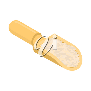 Brown rice in wooden scoop isolated. Groats in wood shovel. Grain on white background. Vector illustration