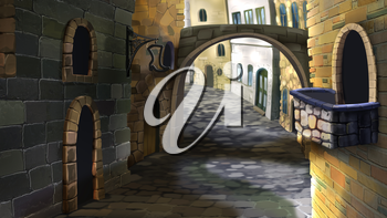 Digital painting of the street in the old town. With a stone bridge and small balcony.