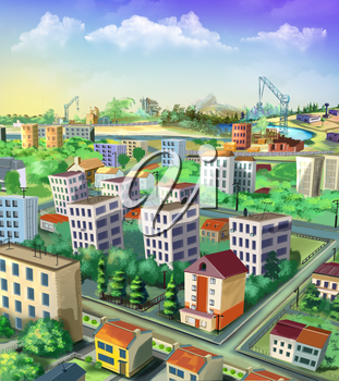 Digital painting of the cityscape with buildings, roads and trees.