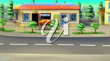 Digital painting of the roadside cafe. Front view