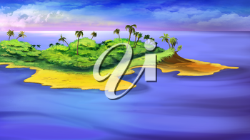 Digital painting of the small island in a ocean with palms.