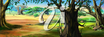 Digital painting of the African Savannah in a summer day with grass meadow on background. Panorama.
