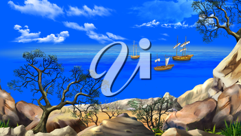 View of the bay with sailboats. Shore of the ocean, coast of desert island. Summer day, blue sky. Lonely tree. Digital Painting Background, Illustration in cartoon style character.