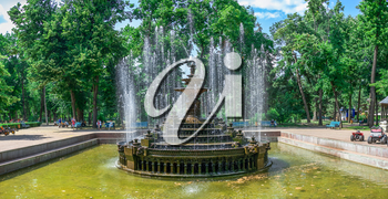 Chisinau, Moldova – 06.28.2019. Fountain in the Central Park of Stefan cel Mare, Chisinau, Moldova, on a sunny summer day