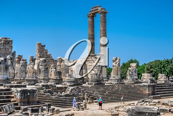 Didyma, Turkey – 2019-07-20. The Temple of Apollo at Didyma, Turkey. Panoramic view on a sunny summer day