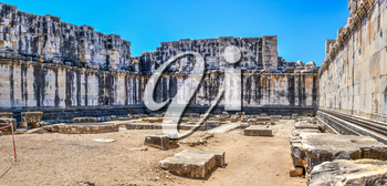 Inside the Temple of Apollo in Didyma. Panoramic view on a sunny summer day