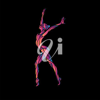 Creative silhouette of gymnastic girl. Art gymnastics pose, vector illustration or banner template in trendy abstract colorful neon waves style on black background