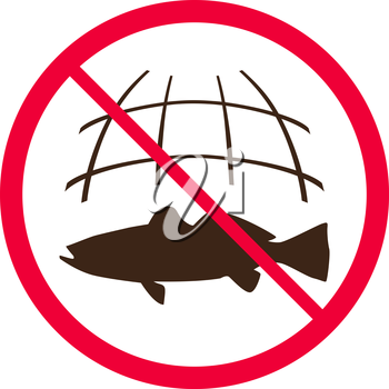 No fishing sign. Fishing nets is prohibited