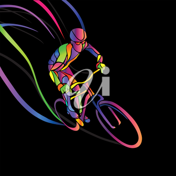 Professional cyclist involved in a bike race. Vector artwork in the style of paint strokes. Vector illustration