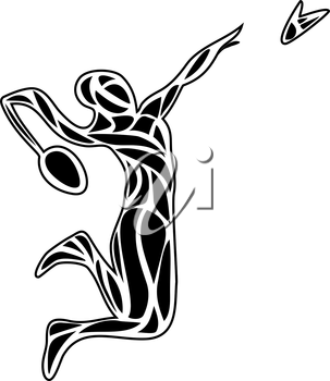 Creative silhouette of professional female Badminton player doing smash shot. Vector illustration.