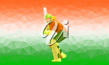 Cricket player silhouette polygonal low poly illustration with stylized India flag and national colors saffron, white and green. Eps 10
