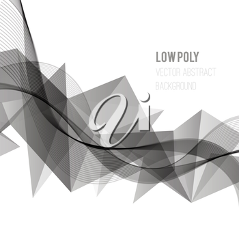 Abstract template design background. Gray6 triangles and wave