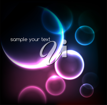 Blue light effects on round placeholder for your text on dark background. EPS10