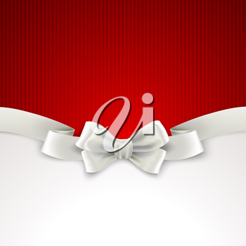 Red Christmas background with white silk bow Vector illustration