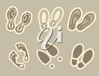 Footprint stickers set in grey colors vector illustration