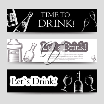 Drink party horizontal banners set vector with hand drawn bottles