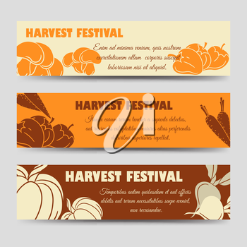Harvest festival horizontal banners template with pumpkin mushrooms peppers. Vector illustration