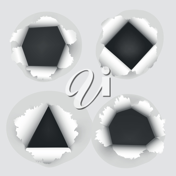 Paper sheet with holes icon. Torn paper with four holes. Vector illustration