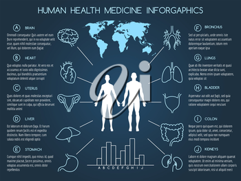 Medical infographics in line style. Human body health care infographics vector illustration