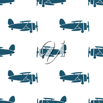 Seamless pattern with blue biplanes on white background. Vector illustration