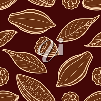 Cocoa beans engraved seamless pattern. Chocolate packing vector illustration