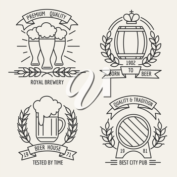 Beer house and kraft brewing company outline labels. Vector illustration