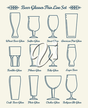 Beer glassware. Drinking glasses and goblets thin line signs. Vector illustration