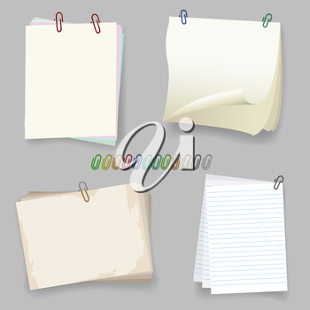 Sheets with paper clip. Colorful paperclips vector illustration