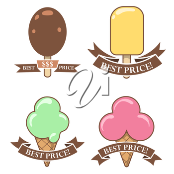 Colorful ice cream stickers-banners for sale with text best price isolated on white. Vector illustration