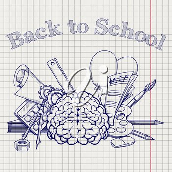 Back to school vector illustration with brain stationery note paper etc on the notebook page
