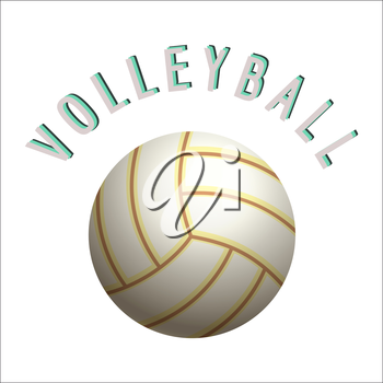 Volleyball ball isolated on white background vector illustration