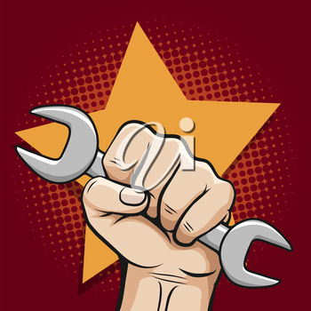 Labour day poster with working hand and wrench and bursting star. Vector illustration