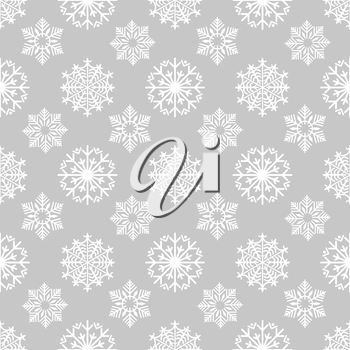 Winter background with frozen snowflakes on grey backdrop. Snowflakes seamless pattern. Vector illustration