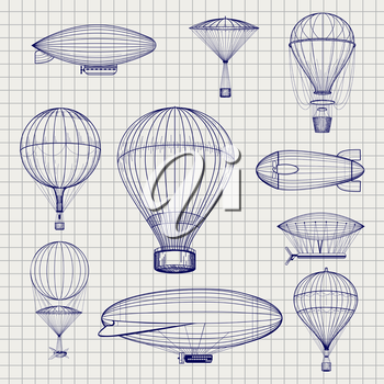 Hand drawn air hot balloons and airship zeppelins sketch on notebook page. Vector illustration
