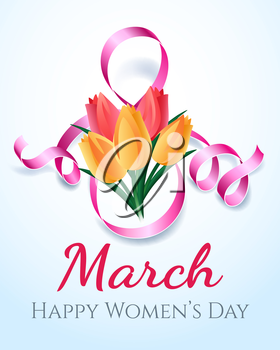 Woman international eight march day card design with flowers. Vector illustration
