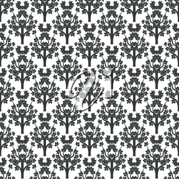 Decorative maple tree black seamless pattern design. Vector illustration