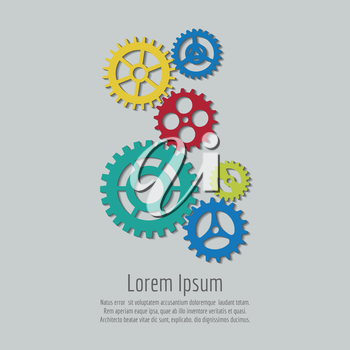 Colorful gears icons background design. Vector team work concept