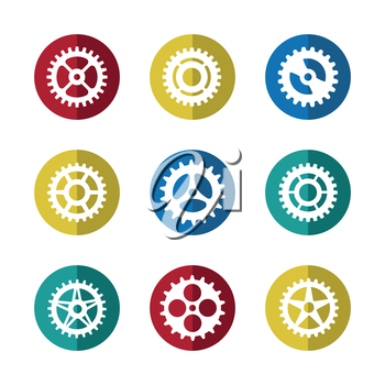 Gears icon set on colorful circles on white background. Vector illustration