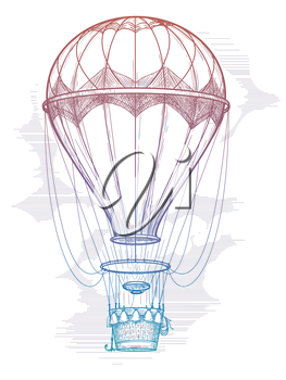 Hand drawn colorful hot air balloon isolated on white background. Vector vintage poster design