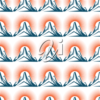 Seamless pattern with mountain and sun. Vector nature background