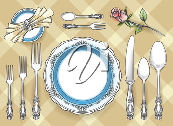 Cutlery set vector sketch. Hand drawn restaurant dinnerware or tableware utensils