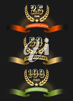 Anniversary logo set isolated on black background. Golden award years celebration labels vector illustration for corporate invitation cards