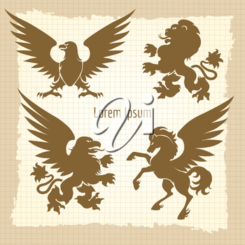 Heraldic silhouettes collection. Vintage poster design vector illustration