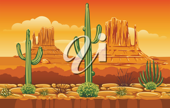 Game vector horizontal seamless pattern with wild west mountains landscape. Arizona gaming cartoon background