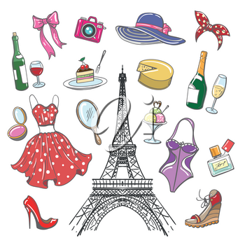 Colorful paris fashion sketch collection. Woman hand drawn fashionable accessoriesfor girls travel and shopping isolated on white background. Vector illustration